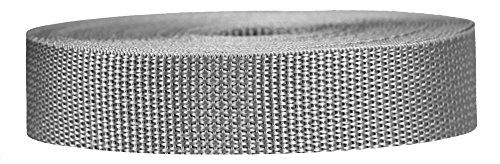 Strapworks Cincha de polipropileno ligero – correas de poliéster para reparación de equipos al aire libre, collar de mascotas, manualidades – 1 pulgada x 10 yardas – gris plateado