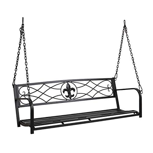 VINGLI Upgraded Metal Patio Porch Swing, 800 LBS Weight Capacity Steel Porch Swing Chair for Outdoors, Heavy Duty Swing Chair Bench for Gardens & Yards (Pattern 2)