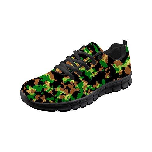HUGS IDEA Camouflage - Zapatillas deportivas ligeras para correr con cordones y malla para hombre, color Verde, talla 44 EU