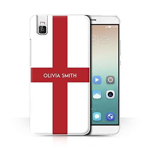 eSwish Personalisiert Persönlich National Nation Flagge 2 Hülle für Huawei Honor 7i/ShotX/England Englisch Design/Initiale/Name/Text Schutzhülle/Hülle/Etui