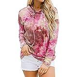 Sudadera con Capucha para Mujer Gradient Tie Dye Fashion Y2K Sweater Loose Printed Casual Drawstring Hat Sudadera