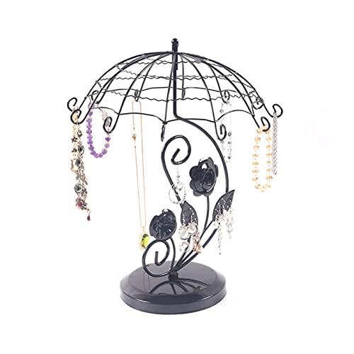 OMKMNOE Soporte para pendientes, soporte para collar, soporte para joyas, soporte para pendientes de metal para el hogar, exhibición de joyería, color negro