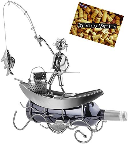 Brubaker Flaschenhalter Fischer in einem Boot Metall Skulptur Geschenk mit Geschenkkarte