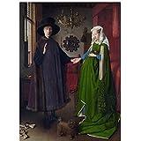 Pintura famosa Van Eyck Arnolfini, pintura de boda, póster, impresión en lienzo, Cuadros artística de pared para habitación, Decoracion del hogar, 60x90 cm x1 sin marco