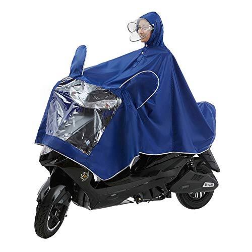 WXH Manteau imperméable Double Poncho Oxford châle vêtements Veste imperméable Grand Respirant Hommes et Femmes avec Miroir imperméable à l'eau Moto Scooter équitation vélo,Blue
