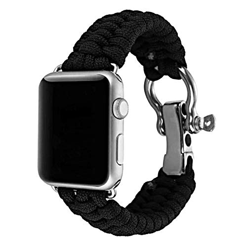 XUANTAI Apple Watch Band 44mm Paracord Replacement Sport Bands with Adjustable Stainless Steel Shackle for iWatch Series 5 4 3 2 1,Black M