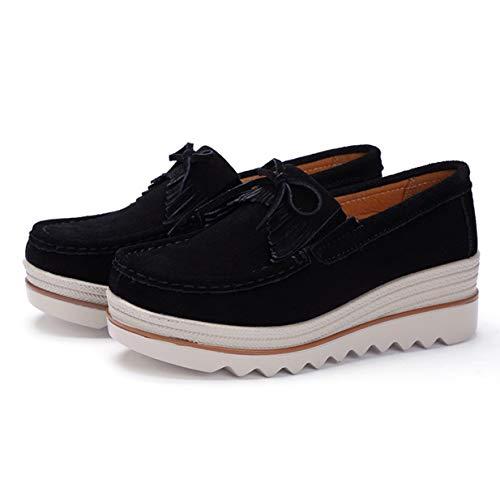 Banbie8409 Frauen Ultraleichte Fransen-Schuhe Lässige Atmungsaktive Slip-On-Schuhe (schwarz-massiv - 36-470#)