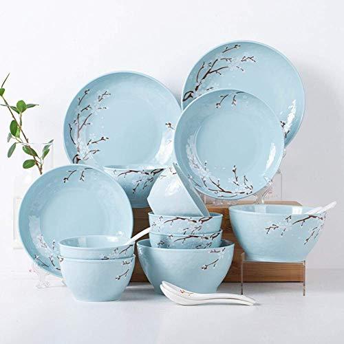 ZJZ Servicio de Juegos de vajilla de cerámica de 18 Piezas para 6 Juegos de vajilla Sakura, Incluido el Juego de Platos y Platos