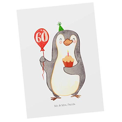 Mr. & Mrs. Panda Karte, Einladung, Postkarte 60. Geburtstag Pinguin Luftballon - Farbe Weiß