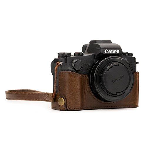 MegaGear MG1388 Custodia Metà Copertura in finta pelle con Accesso alla Batteria per Fotocamere Canon PowerShot G1 X Mark III, Marrone Scuro