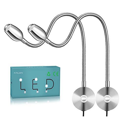 Lámpara de lectura led, brillo ajustable desde, montaje en pared, luz con función de memoria e interruptor táctil,blanco cálido, 200lm/3000k/3W/, ángulo de iluminación: 30°, longitud del brazo: 38 cm