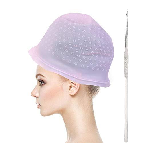 ANGGREK Silikon Highlight Cap Färbung Haarfarbe Kappe Highlighting Cap Friseursalon Styling-Tools mit Haken für Frauen Mädchen Färben von Haaren(Rosa)