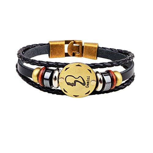 Charmed Craft hecho a mano piel de aleación de cobre de horóscopo zodiaco constelación trenzado pulsera de cuerda -  -