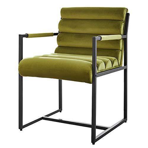 Damiware Tony Stuhl | Design Wohnzimmerstuhl Esszimmerstuhle Bürostuhl mit Stoffbezug | (Samt Olivgrün)