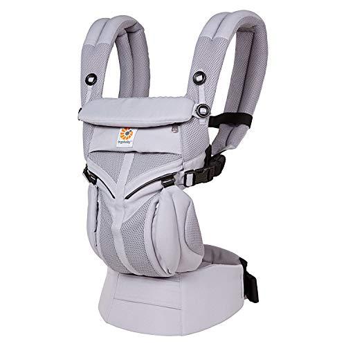 Ergobaby Omni 360 Babytrage für Neugeborene ab Geburt bis 20kg, 4in1 Cool Air Mesh Kindertrage Tragesystem, Lilac Grey, BCS360PLILAC