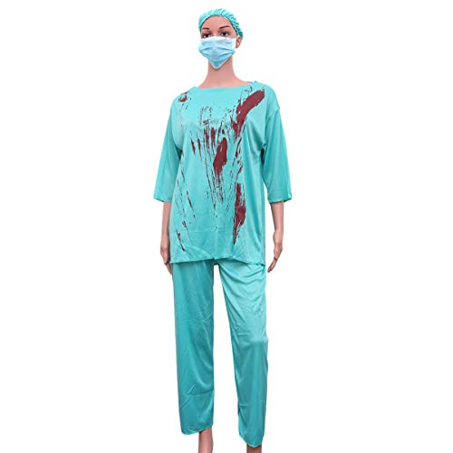NUOBESTY Doctor Sangriento Disfraz Cosplay Fiesta Halloween para Mujeres Hombres Performance Festival 1pc