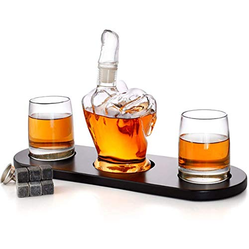 Middle Finger Shape Whiskey Decanter Set 2 Liquor Glasses, Mens Gift Cooling Whisky Stones and Funnel for Rum, Scotch, Bourbon, Whisky