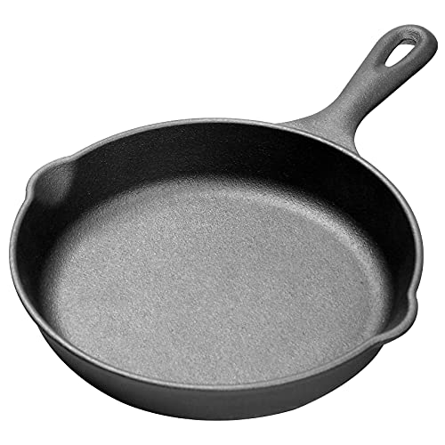 EDGING CASTING 8' Pre-Seasoned Frying Pan, Cast Iron Skillet for Indoor & Outdoor Cooking - Grill, Stovetop, Induction, Oven &...