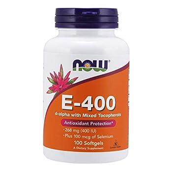 NOW Supplements Vitamin E-400 IU Mixed Tocopherols Antioxidant Protection* 100 Softgels