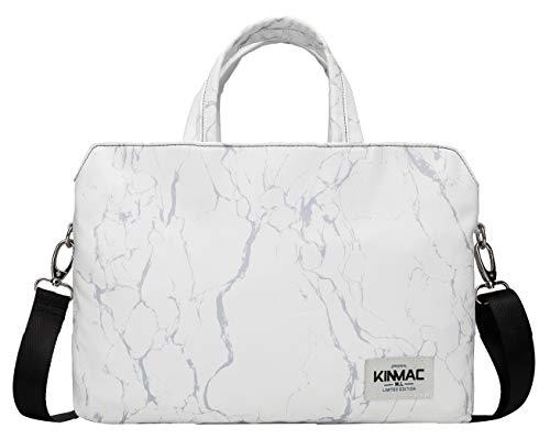 Kinmac 360 Grad schützende, wasserabweisende Laptop-Umhängetasche (15-15,6 Zoll, weiß Marmor)