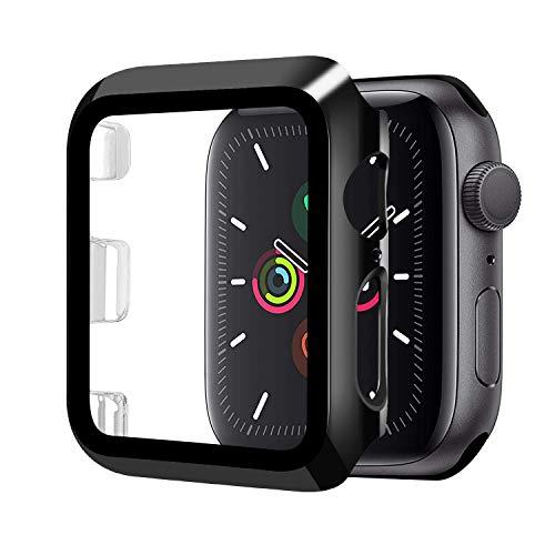 Funda Compatible con Apple Watch 44mm Serie 5/Serie 4+Cristal Templado, Qianyou PC Case y Vidrio Protector Pantalla Integrados, Anti-Rasguños Slim Bumper Case Cover para iWatch 44mm 5/4 (Negro)