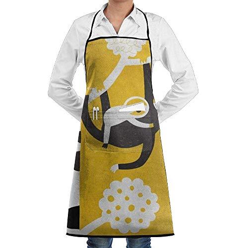 Drempad Schürzen Adjustable Bib Apron with Pockets - Commercial Restaurant and Home Kitchen Apron - Cute Sloth Print