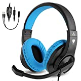 BlueFire Cuffie Gaming per Bambini con Microfono, 3.5mm Bass Stereo Cuffie da Gaming per PS4 / Xbox One/Xbox One S/Xbox One X/Switch Nintendo / PS4 Slim / S4 PRO/PC(Blu)