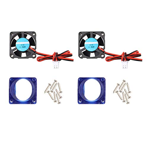 2Pcs 3D Printer Fan 12V DC Mini Quiet Cooling Fan 30 x 30 x 10mm with 28cm Cable for 3D Printer Extruder Hotend Makerbot MK7 MK8 CPU Chip Arduino with Fan Cover Case including Screws