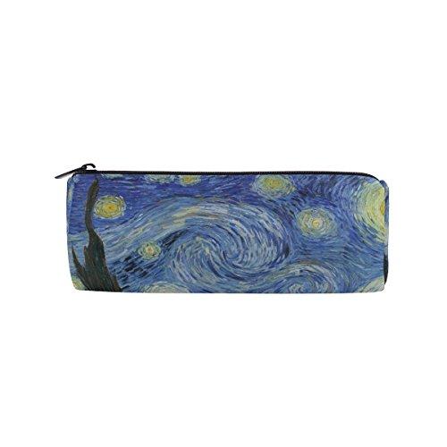 Ahomy Estuches de lona estuche Van Gogh Starry noche luna cremallera bolsa de lápiz para adolescentes niñas y niños, bolsa de viaje de maquillaje para mujeres