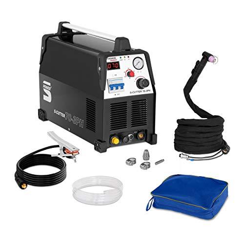 Stamos Power - S-CUTTER 70-3PH - Plasmaschneider (20-70 A, 400 V,20 mm Schneidleistung, Pilotzündung + Zubehör) schwarz