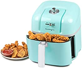 Nostalgia CLAF7AQ Classic Retro 7-Quart Oil-Free Healthy Cooking Air Fryer, Adjustable Temperature, 60-Minute Timer, Perfect For Chicken Tenders, Wings, Fries, Onion Rings, Fruits, Fish, aqua