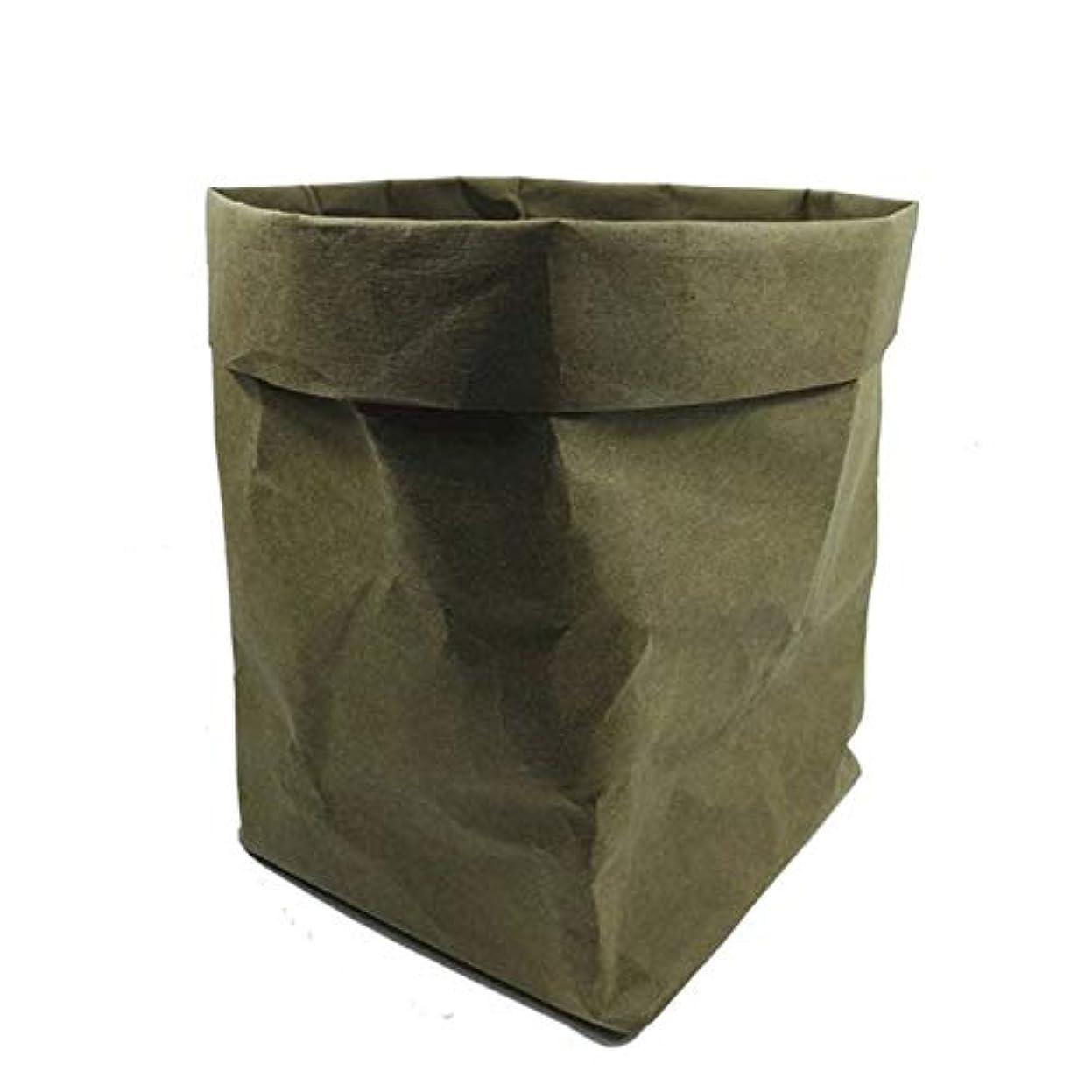 アラブサラボエンドウくしゃみHENAN ミニ多肉植物プランターポット洗えるクラフト紙の植木鉢クリエイティブデスクトップフラワーポット再利用可能多機能ホームストレージバッグ (Color : Green, Size : 8x8x15cm)