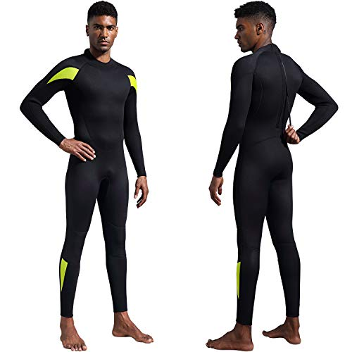 Dark Lightning Mens 3mm Full Suit Wetsuit for Scuba Diving, Snorkeling Surfing Thick and Warm Jumpsuit for Multi Watersports(XXL Size)
