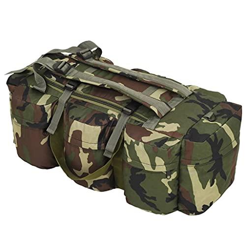 HUANGDANSP Bolso de Lona Estilo Militar 3-en-1 120 L Camuflaje Maletas y Bolsos de Viaje Bolsas de Deporte