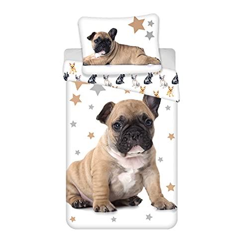 Bulldog - Juego de cama infantil (algodón, funda nórdica de 140 x 200 cm y funda de almohada de 70...