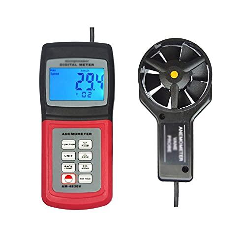 Vobajf Anemómetro de mano Anemómetro integrado para el hogar, pantalla digital, anemómetro portátil (color: rojo, tamaño: 15,6 x 6,7 x 2,8 cm)