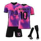 GJMQQ Jersey para Hombre Traje 20-21 New Paris Three Away Jersey Rosa Morado Camiseta de fútbol N ° 10 Neymar N ° 7 Mbappé Sudadera para niños