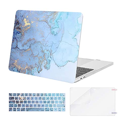 MOSISO Compatible with MacBook Pro 13 inch Case 2016-2020 Release A2338 M1 A2289 A2251 A2159 A1989 A1706 A1708, Plastic Hard Case & Keyboard Cover Skin & Screen Protector, Water Blue Marble