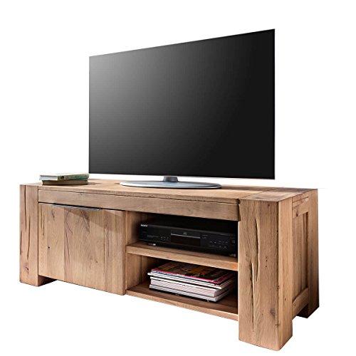 MÖBEL IDEAL TV Lowboard Fernsehschrank Unterschrank Granby 130 cm Massivholz Holz Eiche massiv Balkeneiche Natural Breite 130 cm Tiefe 48 cm Höhe 50 cm