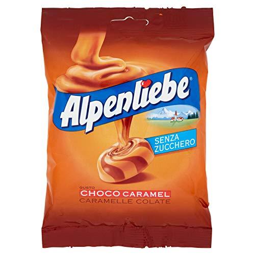 Alpenliebe Choco Caramel, Caramelle Colate Gusto Choco-Caramel, Senza Zucchero e Senza Glutine, Formato Busta da 80 gr