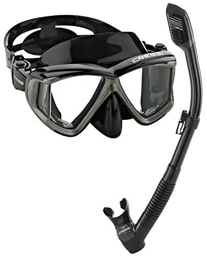 Cressi Panoramic Wide View Mask Dry Snorkel Set, Black/Silver