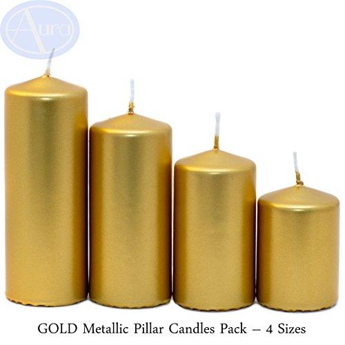 Aura Gold - Velas metálicas para Pilar (4 Tamaños, 50 mm de Ancho)
