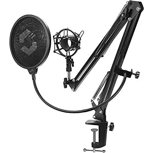 SPEEDLINK Volity Streaming Accessory Set - Mikrofonhalterung für Streamer/Gaming/Computer/Notebook/Laptop, Shock-Mount, schwarz, SL-800011-BK
