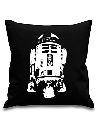 Blue Ray T-Shirts R2D2 - Droid - Star Wars - Black canvas 8oz Cushion Cover 45x45cm square, concealed zip