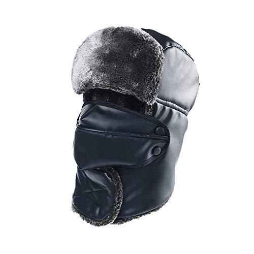 YDS SHOP Hoed PU sjaal oorbeschermers masker masker unisex oorklep waterdicht warme trooper trapper cap 55/60 cm T7.