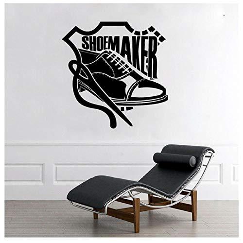 WANGHH Calcomanías de zapatos de cuero de estudio de costura de zapatero, murales de decoración de interiores extraíbles a medida, pegatinas de vinilo para pared de 42x42 cm