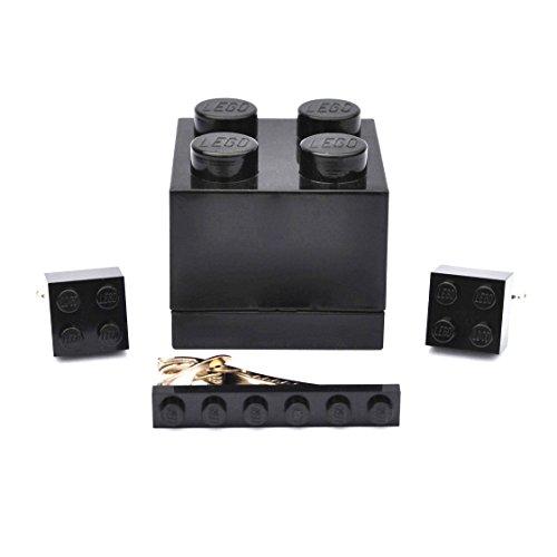 LEGO® Manschettenknöpfe & Tie Slide (schwarz) Herren Hochzeit Geburtstag Geschenk-Box Geschenk