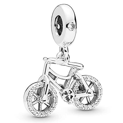 Pandora 925 Sterling Silber Charm Wunderschöner Fahrradanhänger Fit Frauen Halskette diy Liebesschmuck