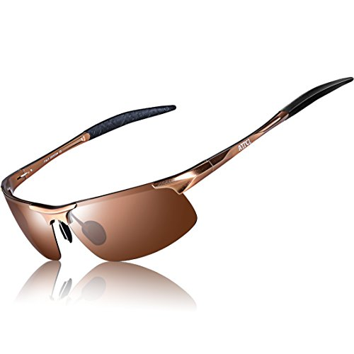 ATTCL Men's HOT Fashion Driving Polarized Sunglasses for Men Al-Mg metal Frame 8177Coffee