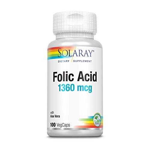 Solaray Folic Acid 800mcg   Ácido fólico I 100 VegCaps